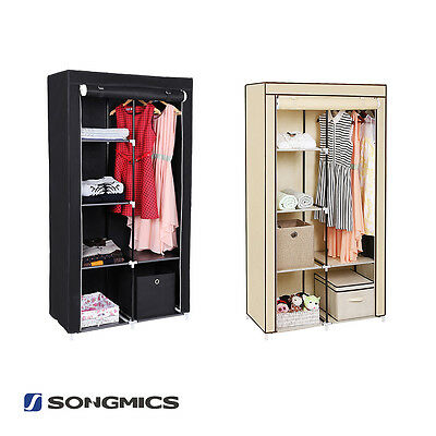 Songmics Double DIY Canvas Wardrobe Clothes Storage Cupboard With 2 Hanging Rail