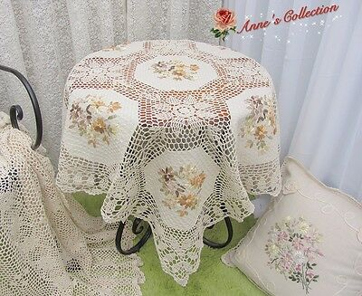 """Shabby~Hand Crochet Lace Ribbon Embroidered Tablecloth~42"""" Square~Cottage Charm~"""