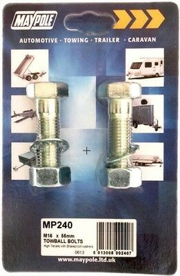 Maypole High Tensile Towball Nuts & Bolts M16 X 55mm | Towing Trailer Caravan