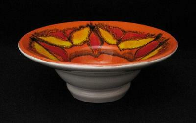 Rare Vintage Poole Pottery England Footed Delphis Bowl Shape 75 #2 Orange