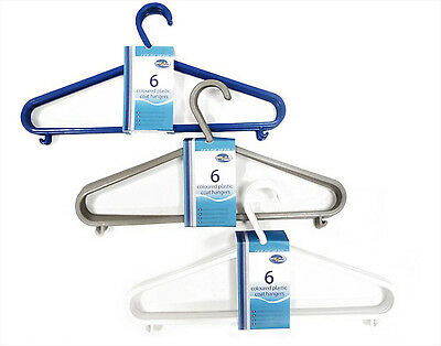 Coat Hangers Plastic Pack Of 6 Coat & Clothes Hangers Blue Grey or White