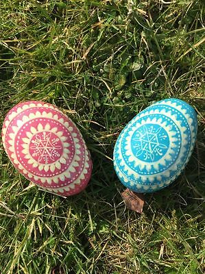 Easter Egg Decoration set of two - Pink and Blue (Painted wood)