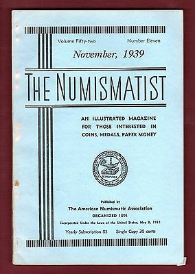 THE NUMISMATIST Magazine: NOVEMBER 1939 American Numismatic Association | ANA