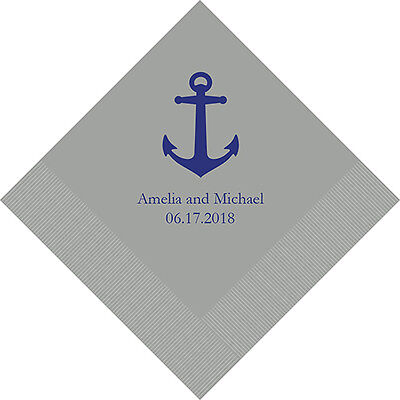 100 Anchor Beach Theme Personalized Printed Wedding Cocktail Napkins