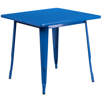 31.5'' Square Blue Metal Indoor Table