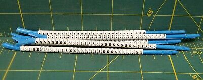 """Hellermann Tyton Clip-Tags Wire Marker Number """"5"""" 16ga to 10ga, Lot of 179"""