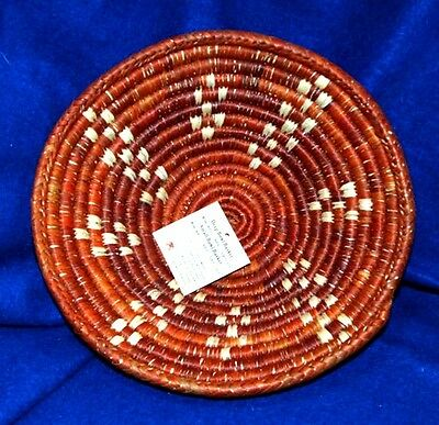 """Small Handwoven Basket Collectible Decorative New Southwestern  8.5x2.5"""" S-10"""