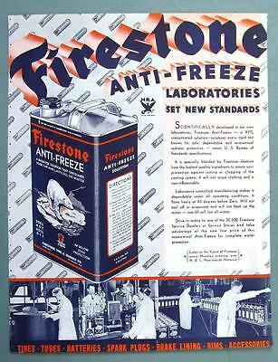 Rare  Orig 1933 Firestone Anti-Freeze Ad SETS NEW STANDARDS FOR ANTI-FREEZE