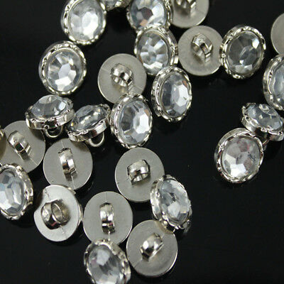 100 Pcs Sewing Shank Buttons Craft Crystal Clear Acrylic Rhinestone Silver Back