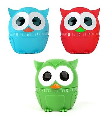 Kikkerland Colour Owl Kitchen Wind Up Egg Timer 60 Minute Countdown Manual Clock