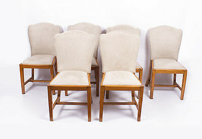 Antique Set 6 Walnut Art Deco Dining Chairs Epstein c.1930