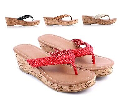 ce97160a22a 4 Color Slip On Cute Wedge Cork Heels Girls Sandals Youth Kids Size Slippers