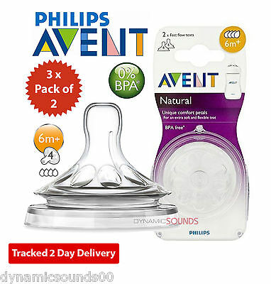 Philips AVENT SCF654/27 Fast Flow Teats (6 Months+) Natural Teat - 3 x Pack of 2