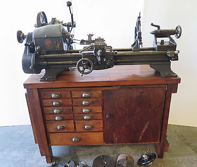 Montgomery Ward Logan Vintage Lathe 10 x 24 Model 04TLC-700A Lot of Tooling Rare