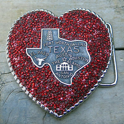 Texas Cowgirl Heart Red Beads Western Handcrafted Belt Buckle