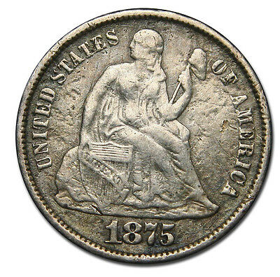 1875CC Seated Dime Silver 10¢ Coin Lot# MZ 1719
