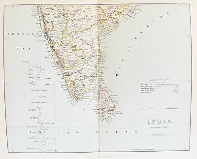 OLD ANTIQUE MAP SOUTH INDIA SRI LANKA c1880's by MACKENZIE PRINTED COLOUR
