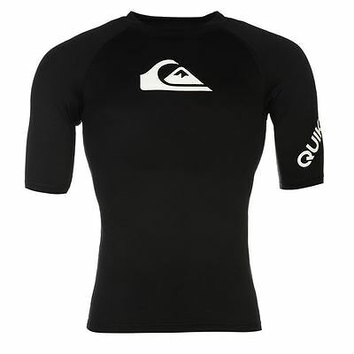 Quiksilver Mens Swimming T Shirt Rash Vest Water Sports Top Short Sleeve UVP 50+
