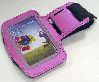 NEW PINK NEOPRENE SPORTS WORKOUT RUNNING GYM ARMBAND CASE for SAMSUNG S4 SPRINT