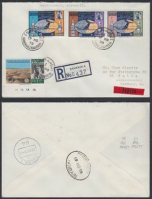 1970 Bahrain Express-R-Cover to Germany, Aircraft Archaelogy [cm502]
