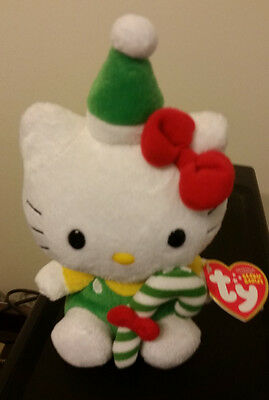 Ty HELLO KITTY HOLDING A GREEN CANDY CANE Beanie Baby ~ MINT with NEAR MINT TAG