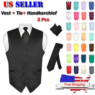 Men's Dress Vest NeckTie Hanky Solid Color Waistcoat Neck Tie Set Suit or Tuxedo