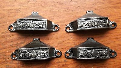Four Antique Fancy Cast Iron Victorian Drawer Pulls Handles c1885 Unusual