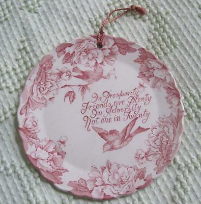 """Royal Staffordshire """"In Prosperity Friends are Plenty..."""" Wall Plate Plaque"""