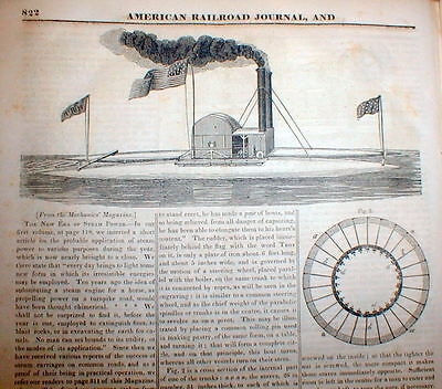 1833 newspaper ILLUSTRATED DETAILED ESSAY Pre USS MONITOR steam powered warship