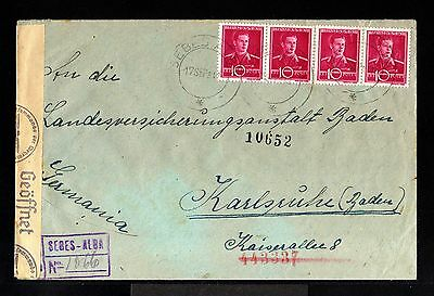 9008-ROMANIA-REGISTERED NAZI CENSOR COVER SEBES to KARLSRUHE(germany)1942.WWII