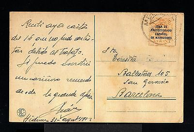 8974-SPANISH MOROCCO-SPAIN COLONIES-POSTCARD HIDUM to BARCELONA.1922.MARRUECOS
