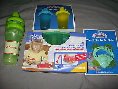 Childrens Divided Plate  Reusable Spill Proof Cups JuiceTeether Green NEW!