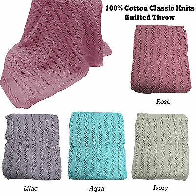 4 Color Choice - QUALITY 100% Cotton KNITTED Throw Blanket Rug - 125cm x 150cm