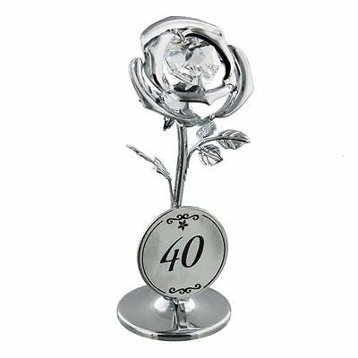 40th Birthday Gift - Crystocraft Celebration Rose with engraving SP124