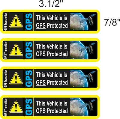 4x CAR ALARM GPS TRACKING DEVICE STICKERS DECALS (AWESOME FULL COLOR)