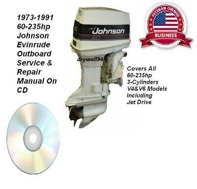1973-91 Johnson Evinrude 60-235hp Outboard Factory Service Repair Manual CD