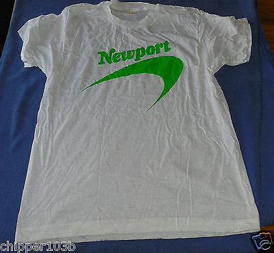 Vintage Newport Cigarettes  Neon Green Logo Size Large Tee Shirt   - 1991 - Nos