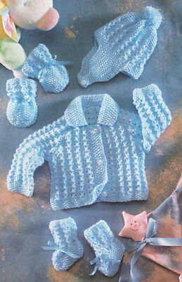 """Baby Jacket with Collar Hat Mittens Bootees 12"""" - 22"""" 4 Ply Knitting Pattern"""