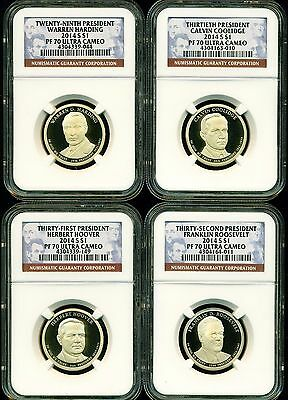 2014 S Ngc Pf70 Ultra Cameo Annual 4 Coin Proof Presidential Dollar Set