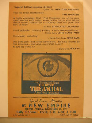 1973 Movie Herald The Day of the Jackal New Empire