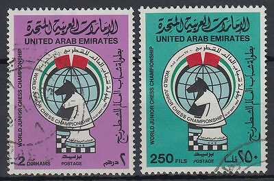 UAE 1985 fine used Mi.181/82 Schach Chess Jugend Youth Springer Knight [g1165]