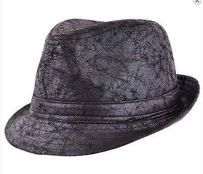 Black Distressed Cracked Leather Retro Look Trilby Hat - Ska Rude Boy 60,S