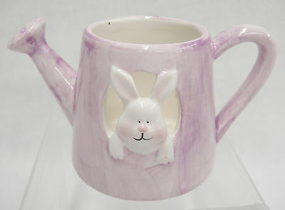 "Figural Ceramic Watering Can with Bunny Lavendar 2.5"" Tall Easter Decoration"