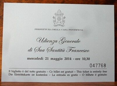 Vatican Pope Francis invitation card for the general audience 21st may 2014