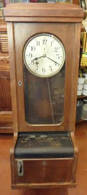 Antique factory wall oak clock for timing workers by Benzing Vogte Malanca Milan