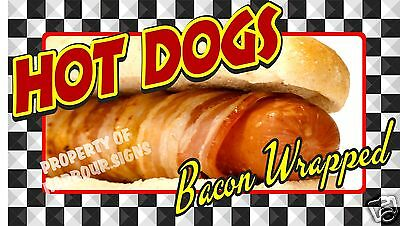 "Hot Dogs Bacon Wrapped Decal 14"" Concession Food Truck Restaurant Vinyl Menu"