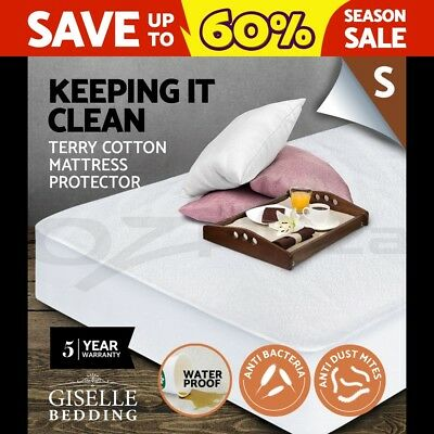 Giselle Bedding Fully Fitted Waterproof Mattress Protector Terry Cotton Single