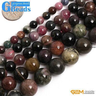 """Natural Colourful Tourmaline Gemstone Round Beads For Jewellery Making 15""""Strand"""