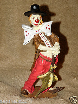 """Clown polyester resin with umbrella 10"""" tall"""