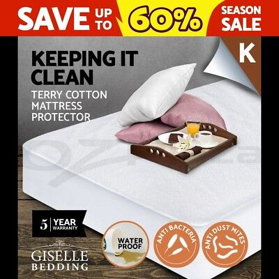 Giselle Bedding Fully Fitted Waterproof Mattress Protector Terry Cotton King